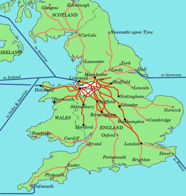 A map of stage-coach routes from Cheshire.